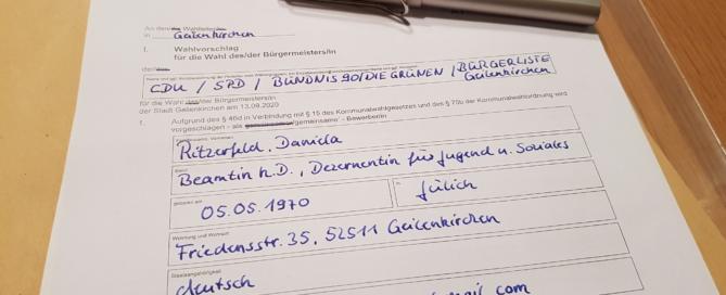 Wahlvorschlag - das offizielle Formular